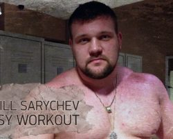 Kirill Sarychev, easy workout (squat, benchpress, shoulders, biceps)